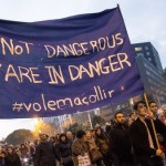 """BARCELONA, SPAIN - FEBRUARY 18: Activists demonstrate in support of refugees and the opening of borders, under the slogan """"Volem Acollir"""" (We want to welcome) in Barcelona, Spain, on February 18, 2017.  (Photo by Albert Llop/Anadolu Agency/Getty Images)"""